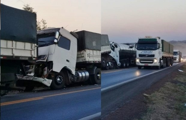Três carretas se envolvem em acidente na BR-163