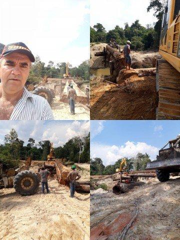 Vereador Nico acompanha de perto os trabalhos realizados na linha 20 Capa em Colniza-MT