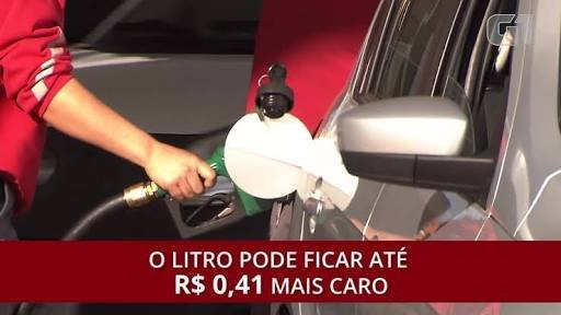 Com imposto, custo médio para encher o tanque de gasolina sobe mais de 10%