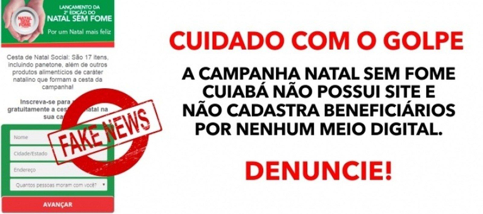 Assistência Social alerta para página com formulário falso que pede dados pessoais para receber cesta de Natal em Cuiabá