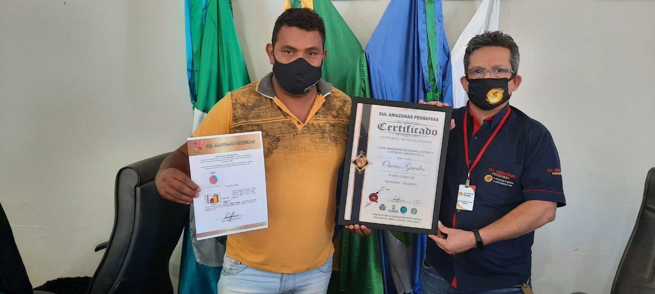 Vereador Oseia de Colniza é eleito o vereador mais atuante do ano