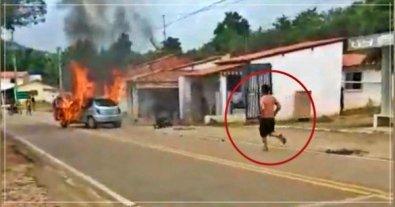 Homem entra em carro em chamas e morre carbonizado