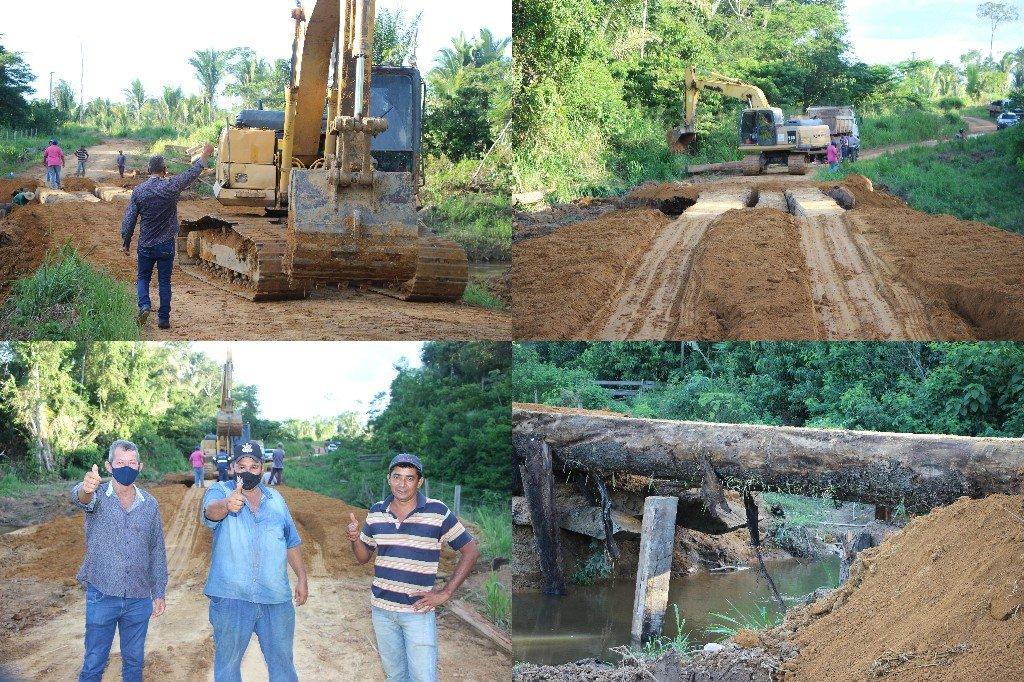 Secretaria de obras de Colniza realiza reforma da ponte na linha 16 da Capa