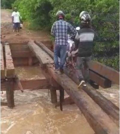 Chuvas destroem pontes e isola ligação entre Cáceres e Barra do Bugres