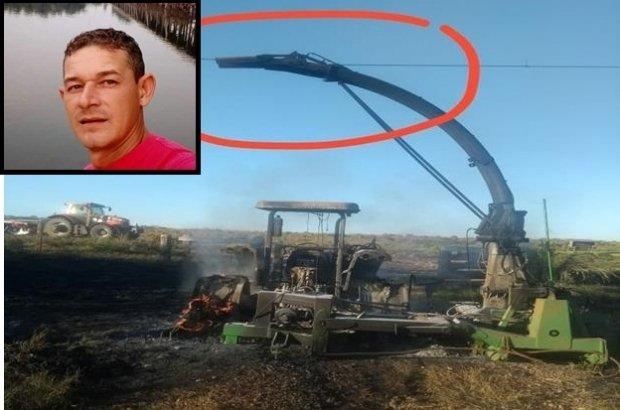 Homem morre com descarga elétrica enquanto operava trator