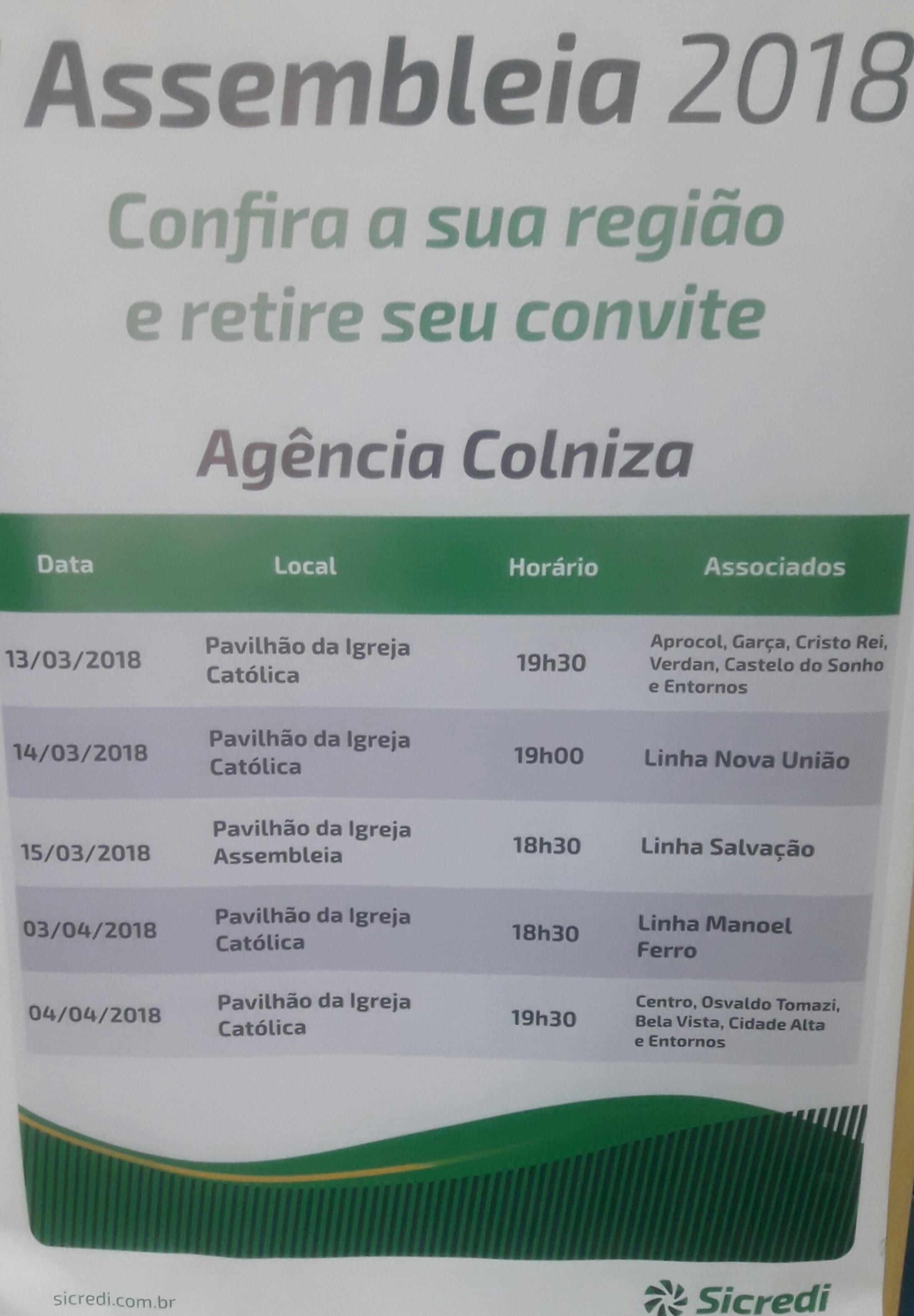 Sicredi realiza Assembleia 2018 para associados em Colniza